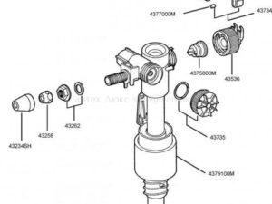 Оригинальный наполнительный клапан (арматура) унитаза Grohe с компенсатором смещения 37092000