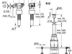 Сливной и заливной клапан (арматура) унитаза для подключения сбоку Grohe (набор переоснащения) 37521PI0
