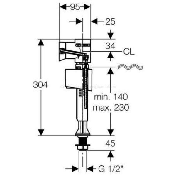Универсальный заливной клапан (арматура) унитазов Gustavsberg GB7323