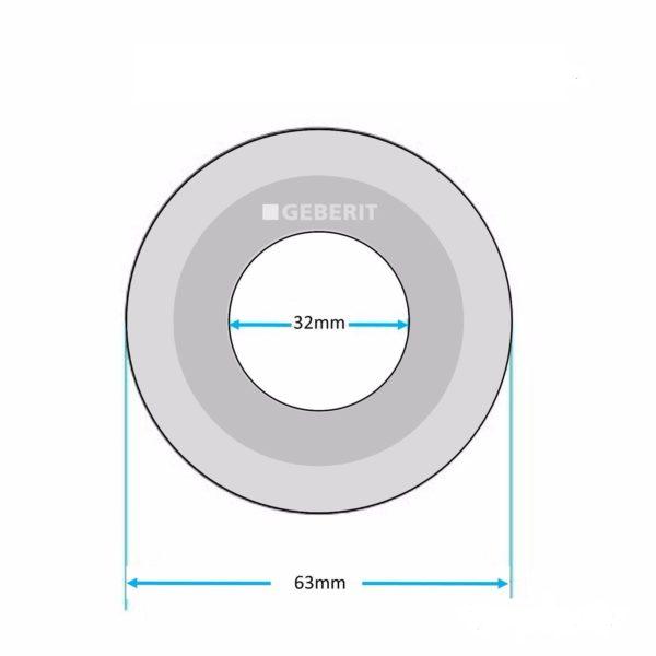 Уплотнительное кольцо сливной арматуры Geberit (D=63х32 мм) 816.418.00.1