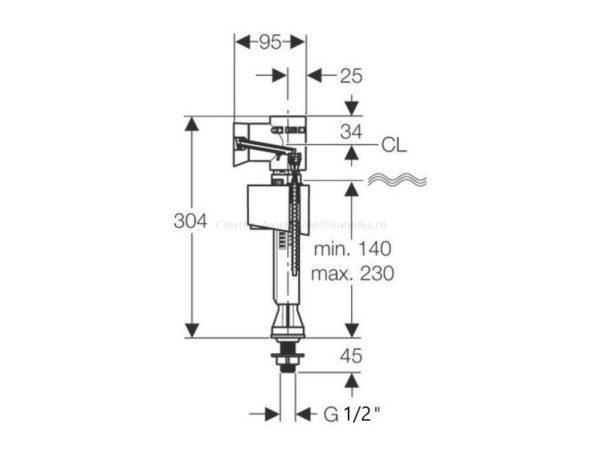 Впускной клапан (арматура) унитаза Geberit Impuls Basic 1/2 дюйма 136.726.00.1