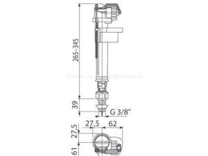 Заливная арматура для унитаза AlcaPlast с нижней подводкой 3/8 A18-3/8