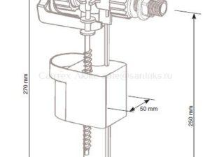 Заливной клапан (арматура) для инсталляции Vidima (Видима) с боковой подводкой воды 3/8 дюйма W8736670